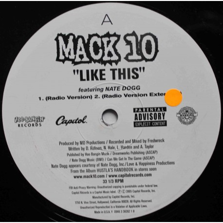 "Mack 10 Feat. Nate Dogg ‎– Like This (12"" / Vinyl)"